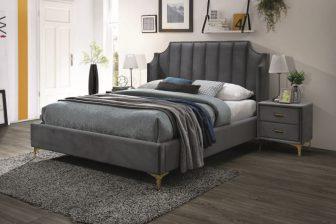 MONAKO 160 - łóżko tapicerowane z zagłówkiem szare 48