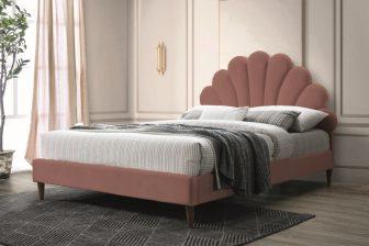 SANTANA 160 - łóżko tapicerowane z zagłówkiem antyczny róż 51
