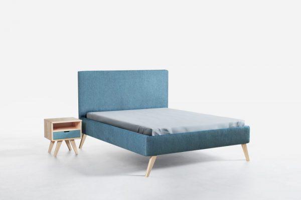 INEZ 160 - łóżko tapicerowane z zagłówkiem na wysokich drewnianych nóżkach wybór koloru 1
