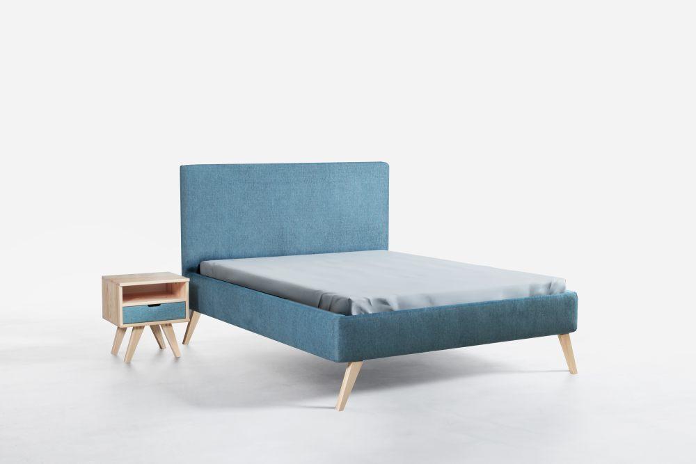 INEZ 160 - łóżko tapicerowane z zagłówkiem na wysokich drewnianych nóżkach wybór koloru 2