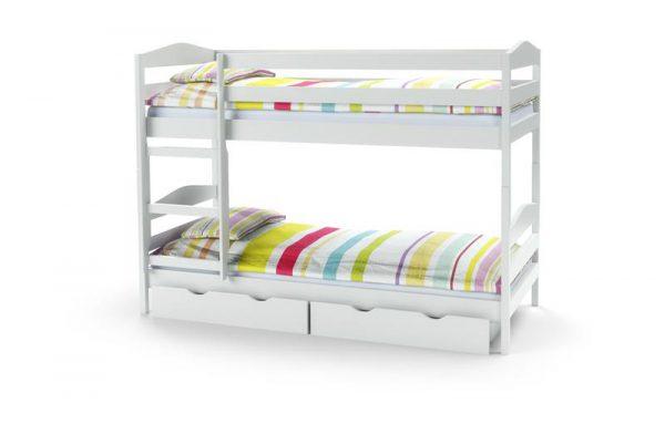 SAM łóżko drewniane piętrowe z materacami kolor biały 1