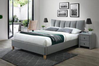 SANDY 160 - łóżko tapicerowane z zagłówkiem szare 50