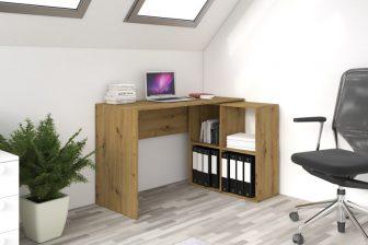 BORE- biurko narożne z regałem różne kolory 32
