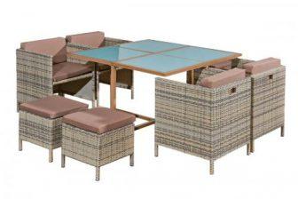 SEPPIA duży zestaw stołowy ogrodowy z technorattanu 13