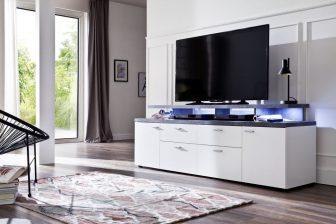MONDO 180 - szafka RTV biała + blat beton 2