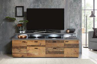 MONDO 180 - szafka RTV szara + drewno postarzane 2
