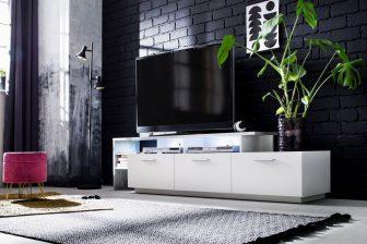 STRONG 195 LED - szafka RTV biała + beton 9