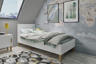 KUBUŚ - łóżko łóżeczko 90x200 dla dzieci szare/białe 18