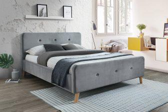 MALMO 160 - łóżko tapicerowane z zagłówkiem szare aksamitne 21