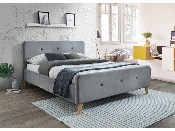 MALMO 160 - łóżko tapicerowane z zagłówkiem szare aksamitne 1