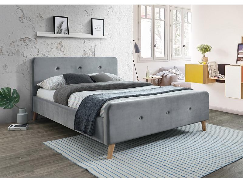 MALMO 160 - łóżko tapicerowane z zagłówkiem szare aksamitne 3