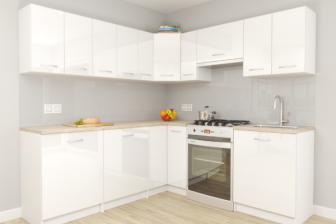 MONO - meble kuchenne narożne białe połysk 2,1m x 1,5m 19