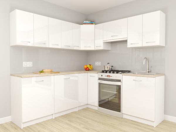 MONO - meble kuchenne narożne białe połysk 2,1m x 1,5m 1