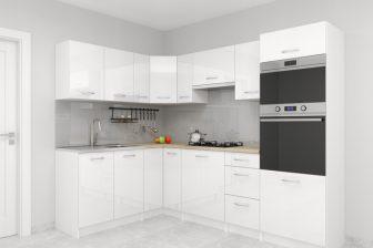 PETRA - meble kuchenne pod zabudowę - narożne biały połysk 1,7m x 2,5m 21