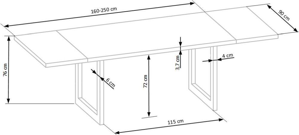 RDS- stół industrialny rozkładany 160 lite drewno 3