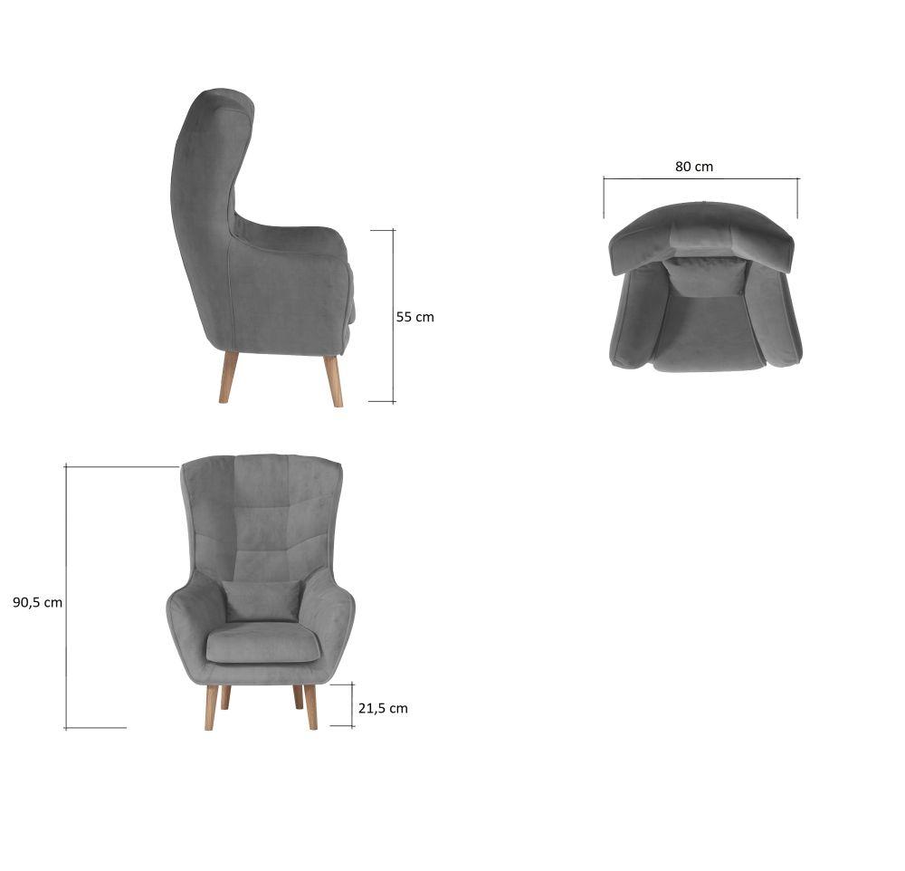 ARETTA - fotel typu uszak z poduszką 10