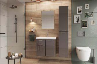DIUNA - zestaw mebli łazienkowych wiszących z lustrem beż połysk 9