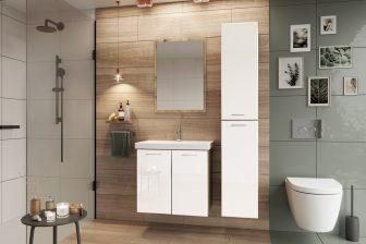 DIUNA - zestaw mebli łazienkowych wiszących z lustrem biały połysk 6