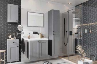 SORAYA - meble łazienkowe klasyczne wiszące szare 10