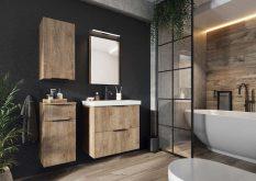 LEROY - zestaw mebli łazienkowych wiszących z lustrem dąb lefkas 2