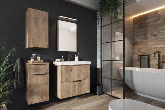 LEROY - zestaw mebli łazienkowych wiszących z lustrem dąb lefkas 10