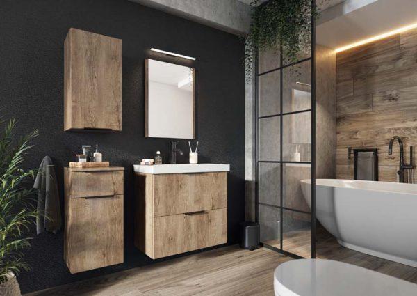 LEROY - zestaw mebli łazienkowych wiszących z lustrem dąb lefkas 1