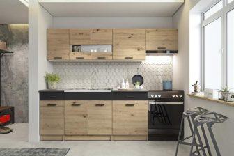 ANASTAZJA - meble kuchenne dąb artisan/czarny mat 2,4m 77