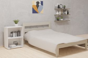 DOTIS - łóżko drewniane sosnowe białe ze stelażem 257