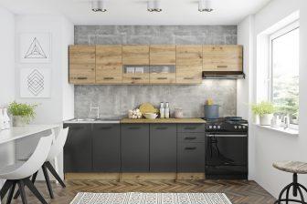 PERILLA - meble kuchenne dąb artisan/grafit 2,6m 16
