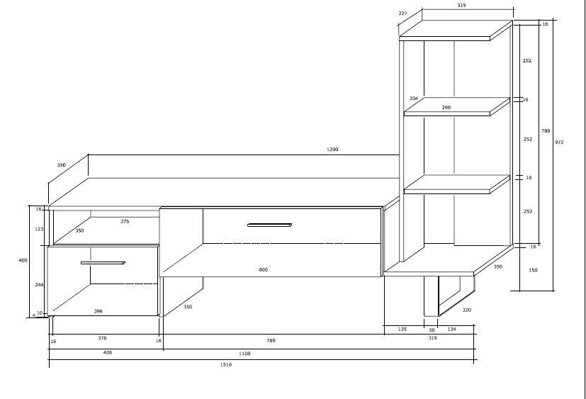 RIKKE - szafka stolik RTV z regałem- 3 KOLORY 5