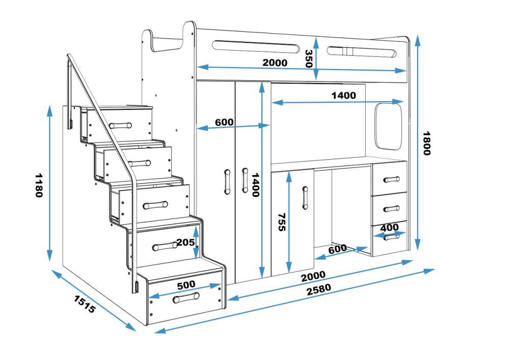 MAXI - łóżko piętrowe antresola z biurkiem i szafami 3