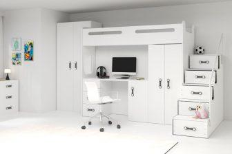 MAXI - łóżko piętrowe antresola z biurkiem i szafami 29