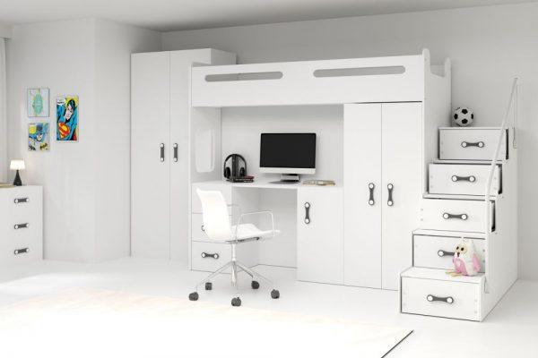 MAXI - łóżko piętrowe antresola z biurkiem i szafami 1