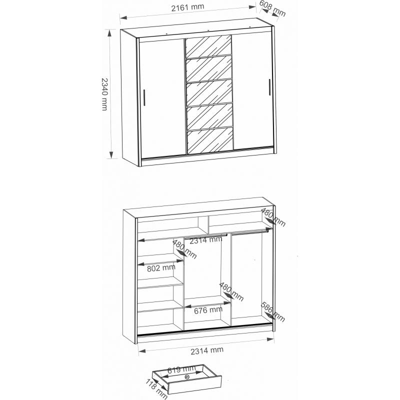 AVRIL 235 – duża szafa przesuwna z lustrem - 2 KOLORY 4