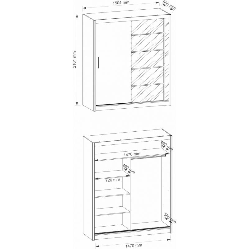 AVRIL 150 – duża szafa przesuwna z lustrem - 2 KOLORY 4