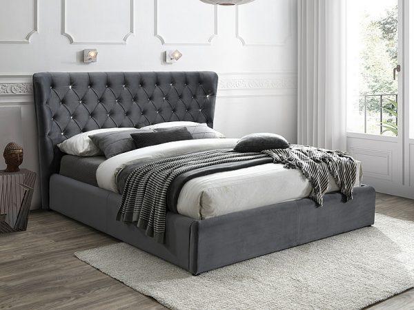 CARVEN 160 - łóżko tapicerowane z krzyształkami 1