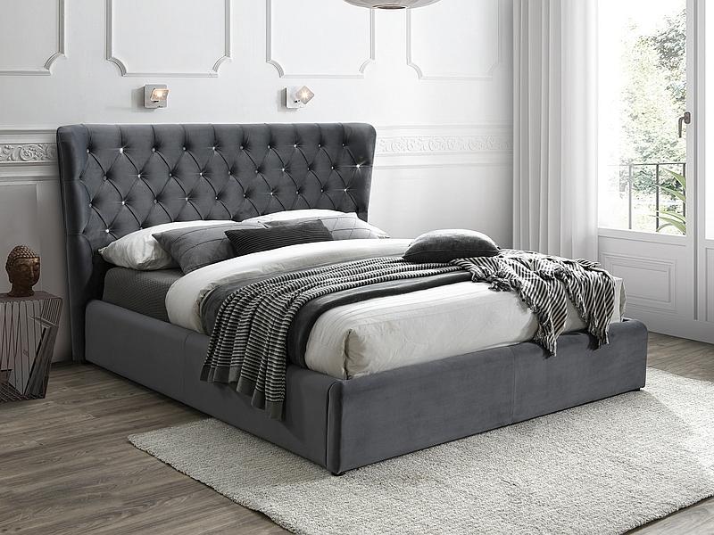 CARVEN 160 - łóżko tapicerowane z krzyształkami 3