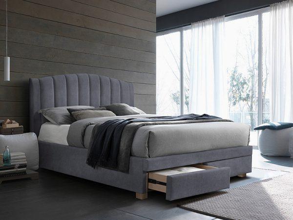 EMOTION 160 - łóżko tapicerowane z szufladami szare 1