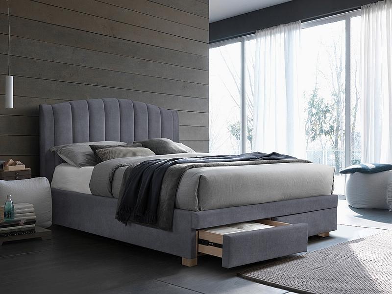 EMOTION 160 - łóżko tapicerowane z szufladami szare 3