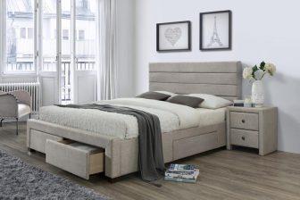 KAYLEON 160 - łóżko tapicerowane z szufladami 29