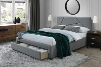 VALERY 160 - łóżko tapicerowane z szufladą szare 64