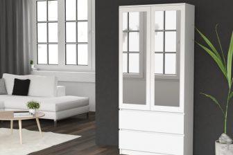SARKO 90 - szafa garderobiana z lustrami dąb artisan/biała/sonoma 61